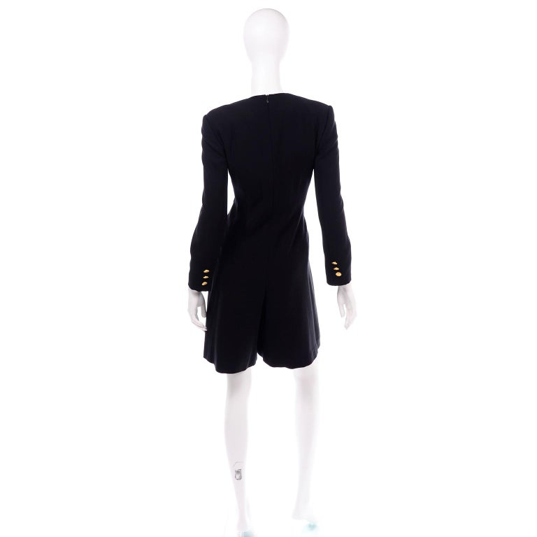 Women's Escada Couture Margaretha Ley Vintage Black Wool Romper Dress Alternative For Sale