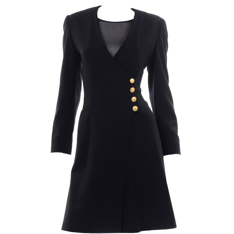 Escada Couture Margaretha Ley Vintage Black Wool Romper Dress Alternative For Sale 1