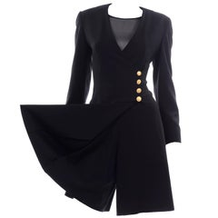 Escada Couture Margaretha Ley Vintage Black Wool Romper Dress Alternative