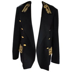 Escada Couture Navy & Gold Majestic Military Brocade Jacket IT 42/ US 8