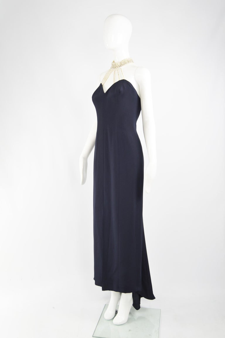Escada Couture Pearl Beaded Evening Gown For Sale 1