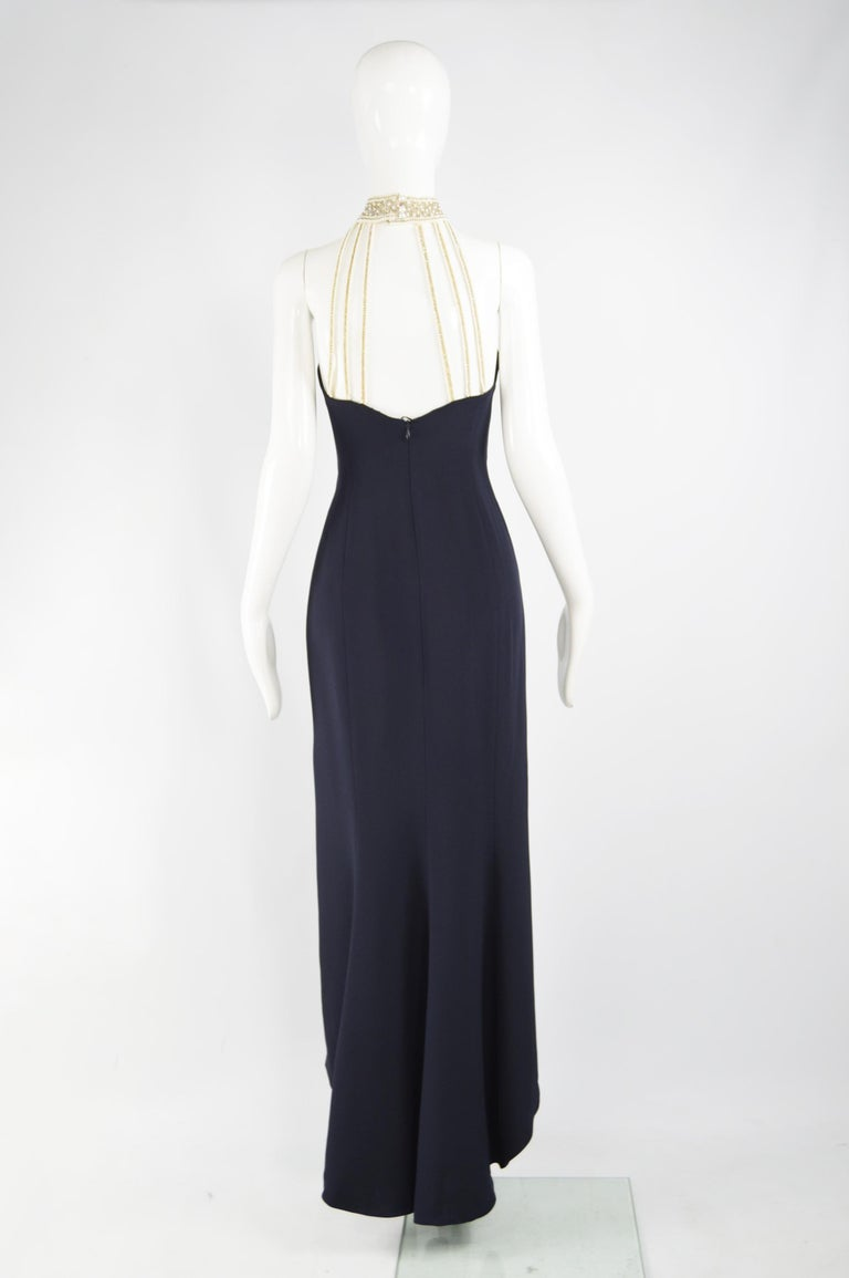 Escada Couture Pearl Beaded Evening Gown For Sale 2