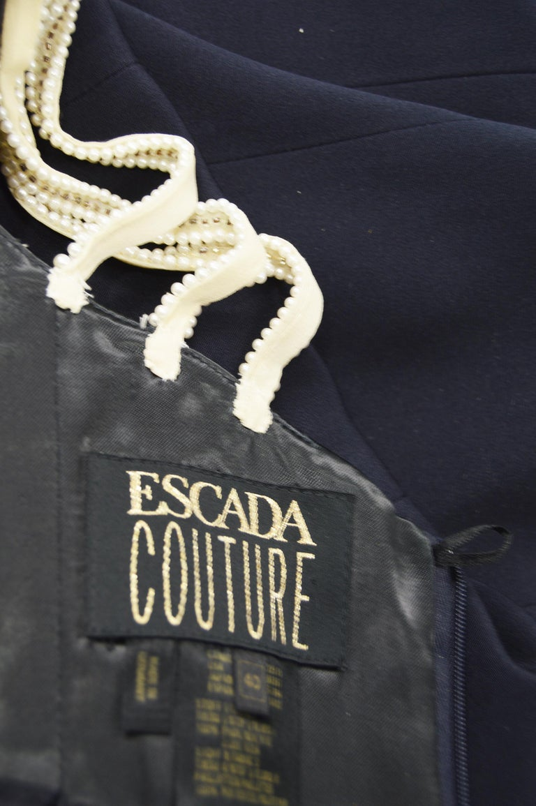 Escada Couture Pearl Beaded Evening Gown For Sale 4