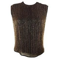 ESCADA COUTURE Size 6 Black & Gold Beaded Silk Dress Top