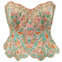 ESCADA COUTURE Size 6 Multi-Color Beaded Floral Silk Bustier