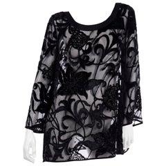 Escada Couture Vintage Black Burnout Velvet Evening Tunic Blouse Top