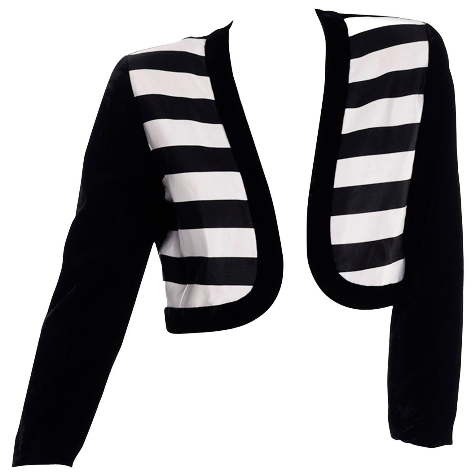 Escada Couture Vintage Cropped Black White Velvet & Satin Striped Evening Jacket
