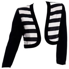 Escada Couture Vintage Cropped Black White Velvet & Satin Striped Evening Jacket