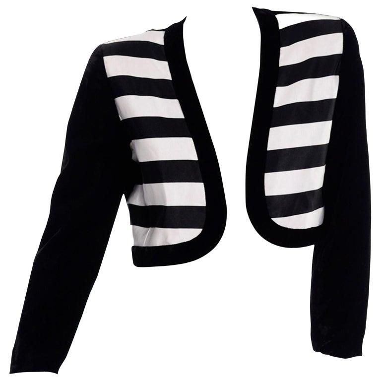 Blazer Velvet Button Down Womens Vintage Cropped 1980s Black