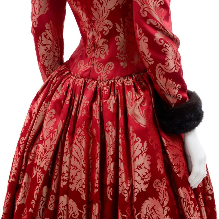 Escada Couture Vintage Dress Red Jacquard Evening Gown With Mink Trim 8