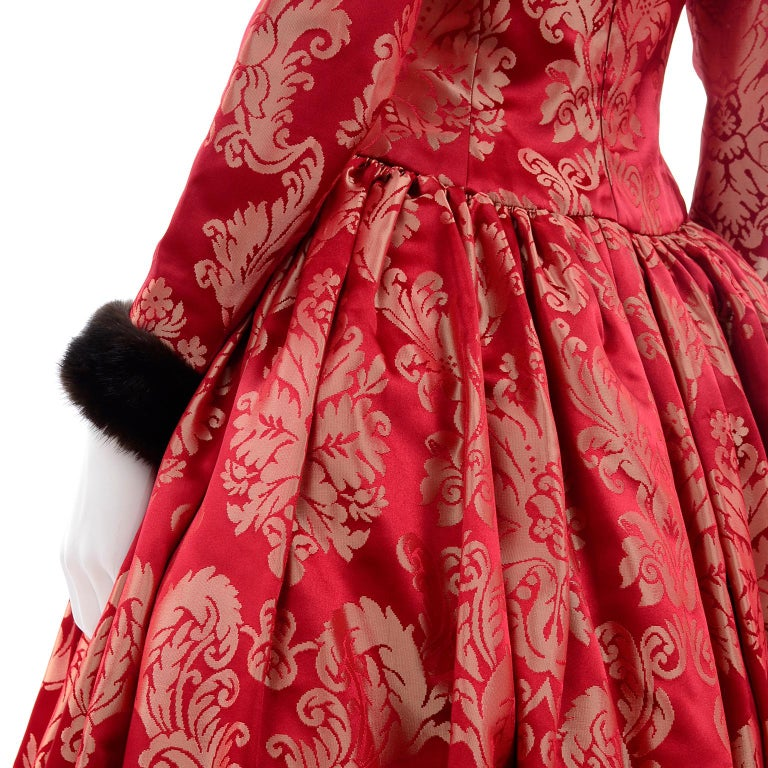 Escada Couture Vintage Dress Red Jacquard Evening Gown With Mink Trim 9