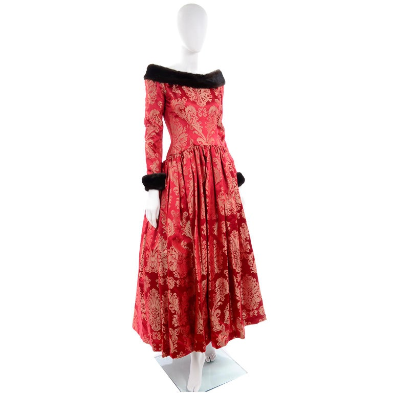 Escada Couture Vintage Dress Red Jacquard Evening Gown With Mink Trim In Excellent Condition In Portland, OR