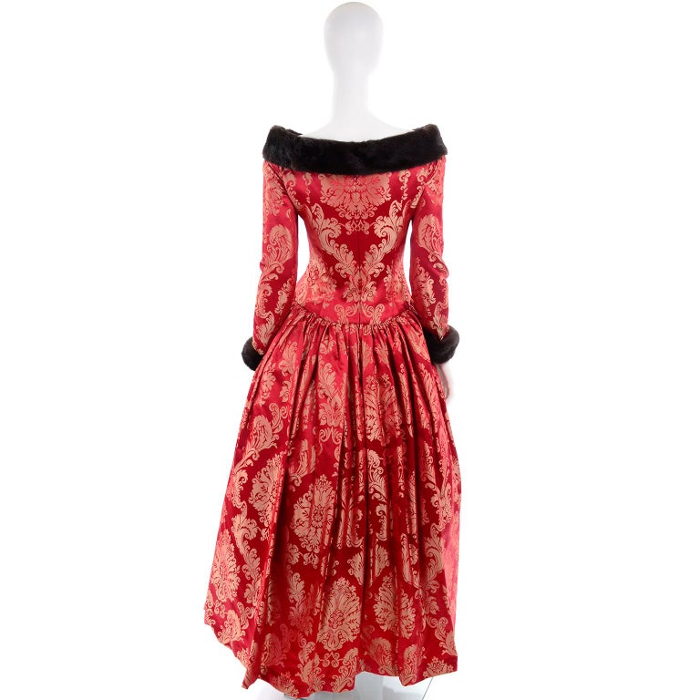 Escada Couture Vintage Dress Red Jacquard Evening Gown With Mink Trim 1