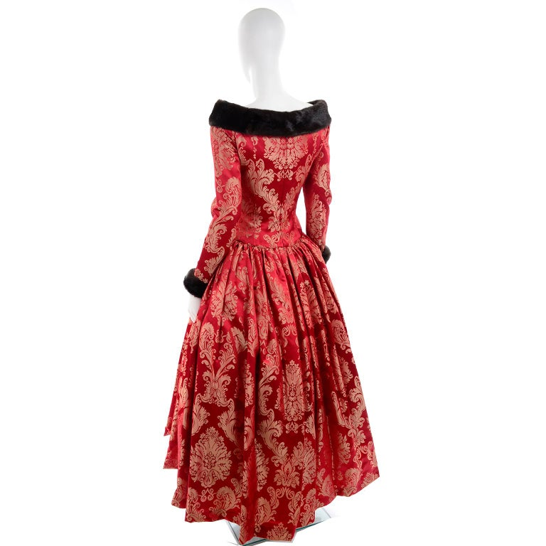 Escada Couture Vintage Dress Red Jacquard Evening Gown With Mink Trim 2