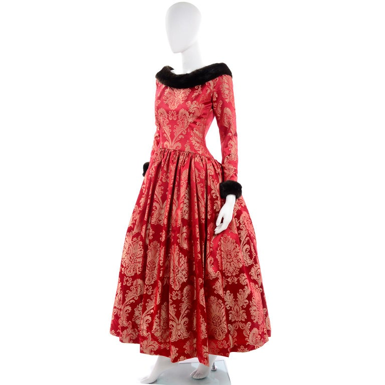 Escada Couture Vintage Dress Red Jacquard Evening Gown With Mink Trim 3