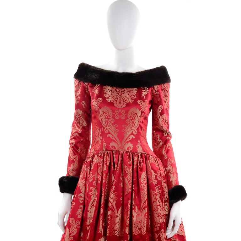 Escada Couture Vintage Dress Red Jacquard Evening Gown With Mink Trim 4