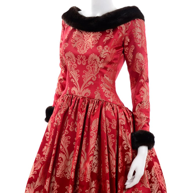 Escada Couture Vintage Dress Red Jacquard Evening Gown With Mink Trim 5