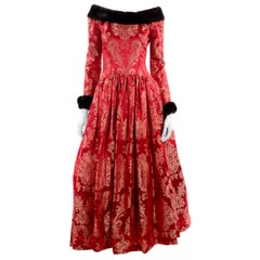 Escada Couture Vintage Dress Red Jacquard Evening Gown With Mink Trim