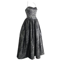 Escada Couture Vintage Silver Lace & Lamé Halter Neck Ball Gown, 1990s