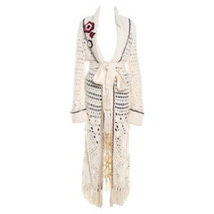 Escada Cream Crochet Knit Floral Applique Scalloped Tassel Edge Long Cardigan L