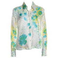 Escada Cream Floral Print Silk Twill Button Front Shirt M