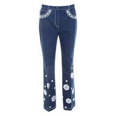 Escada Dark Blue Cotton Stretch Denim Embroidered Floral Motif Flared Jeans M