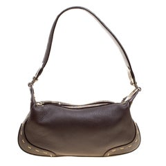 Escada Dark Brown Leather Small Eluna Shoulder Bag