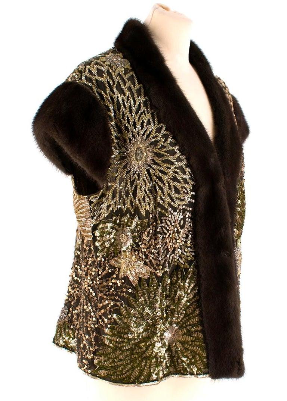 Escada Embellished Mink Vintage Short Sleeve Jacket  - Bead and sequin embroidered - Floral design  - Mink trims - Sleeveless  100% Nylon, 100% Silk, 100% Mink.  Shoulder to Shoulder: 48cm Pit to Pit: 45cm Sleeve Length: 10cm Total length: 60cm