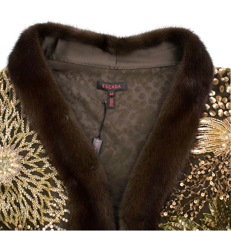 Escada Embellished Mink Vintage Short Sleeve Jacket S 42 IT In New Condition For Sale In London, GB