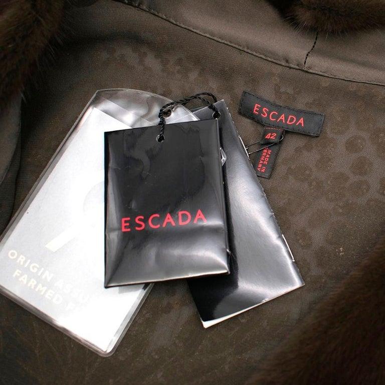 Women's Escada Embellished Mink Vintage Short Sleeve Jacket S 42 IT For Sale