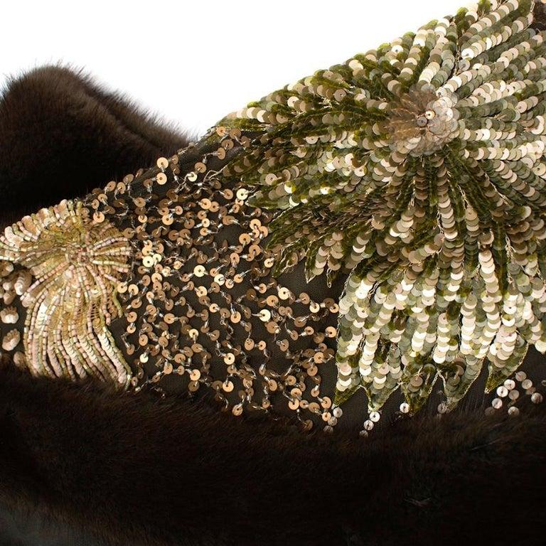 Escada Embellished Mink Vintage Short Sleeve Jacket S 42 IT For Sale 1