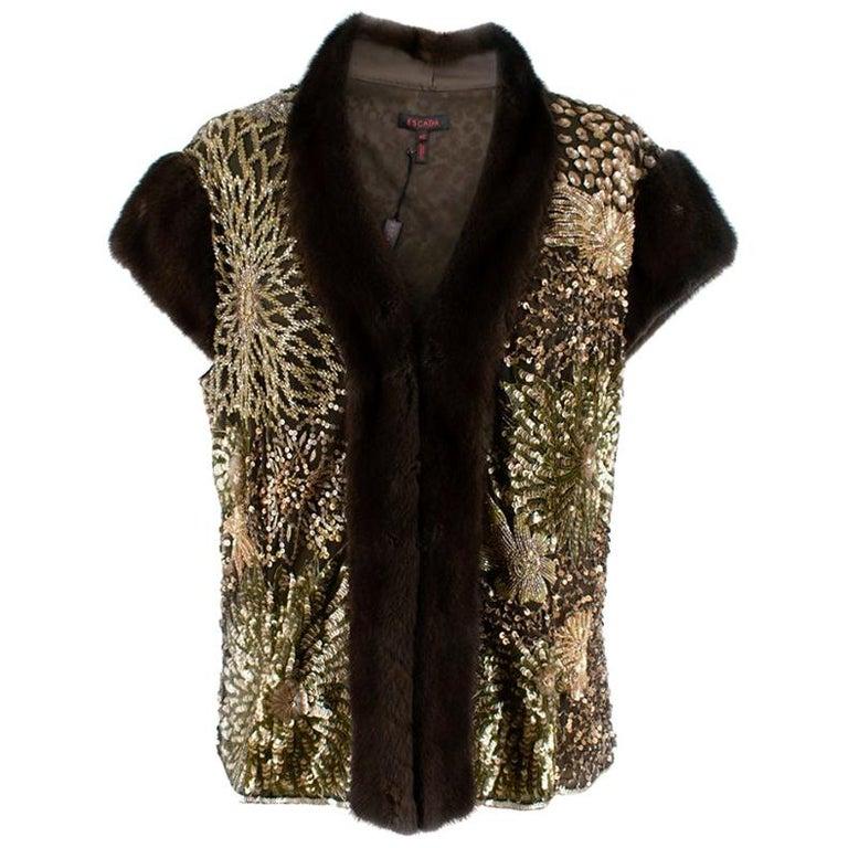 Escada Embellished Mink Vintage Short Sleeve Jacket S 42 IT For Sale