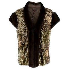 Escada Embellished Mink Vintage Short Sleeve Jacket - Size US 6