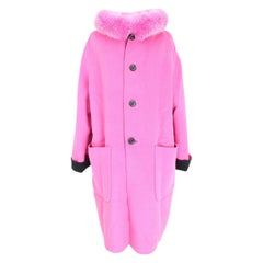 Escada Fur Fox Reversible Wool Angora Coat Vintage Black Pink 1980s