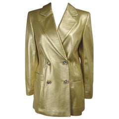 Escada Gold Leather Blazer Jacket Double Breasted Shimmering  1990s UK 38