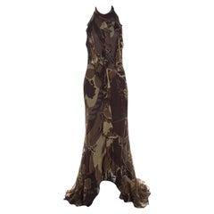 Escada Green and Brown Fauna Print Plisse Silk Ruffled Halter Maxi Dress M