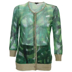 Escada Green and Gold Cardigan