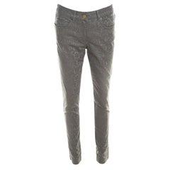 Escada Grey Floral Jacquard Stretch Denim Skinny Jeans M