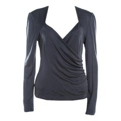 Escada Grey Silk Knit Ruched Crossover Front Long Sleeve Top L