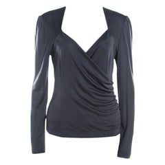 Escada Grey Silk Knit Ruched Crossover Front Long Sleeve Top M