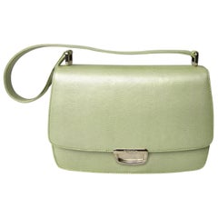 ESCADA Handbag Pearl Lime Green Reptile Embossed Leather 1980's New Never Used