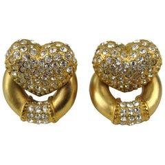 Escada Heart Crystal Pave Earrings New, Never Worn 1990s
