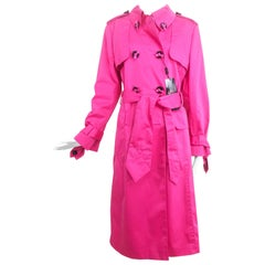 Escada Hot Pink Ribbon Button Trench Coat NWT  42