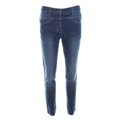 Escada Indigo Faded Effect Denim Cropped Skinny Jeans S