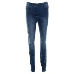 Escada Indigo Faded Effect Denim Sequined Back Pocket Detail Skinny Jeans S
