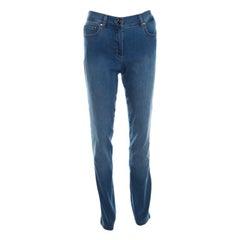 Escada Indigo Faded Effect Medium Wash Stretch Denim Tapered Jeans M