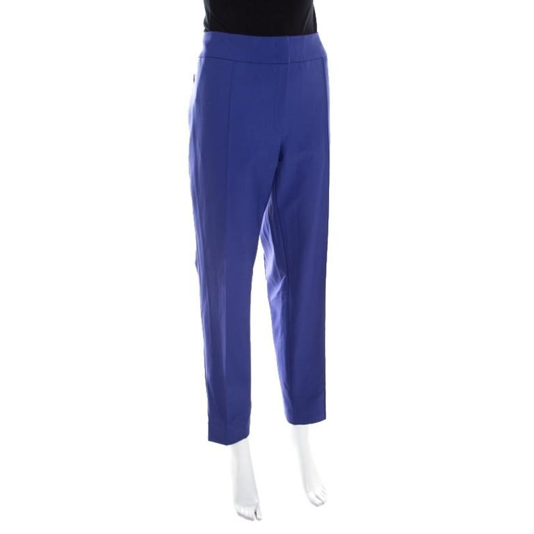 Escada Ink Blue Crepe Stretch Tapered Tineka Trousers XL In Excellent Condition For Sale In Dubai, Al Qouz 2