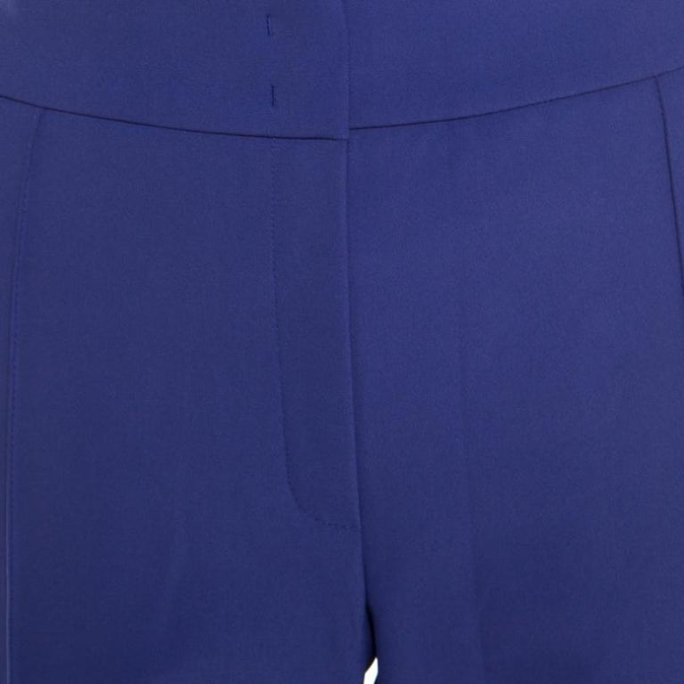 Escada Ink Blue Crepe Stretch Tapered Tineka Trousers XL For Sale 2