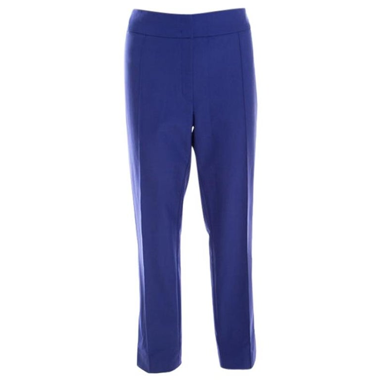 Escada Ink Blue Crepe Stretch Tapered Tineka Trousers XL For Sale