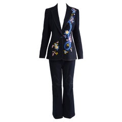 Escada Intricately Embroidered Dragon Women's 2 Piece Denim Flared Jean Suit